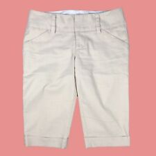 Alice + Olivia Off-White/ Light Khaki Bermuda Shorts w Multi-Color Shimmer Sz 0
