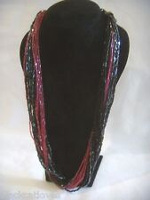 RETRO MULTI STRAND BLACK AND PINK SEED BEAD NECKLACE 1980'S