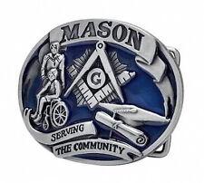 Serving The Community - Blue Tone Freemason Belt Buckle / Masonic Buckle