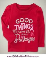 Baby Gap NWT Red GOOD THINGS SMALL PACKAGES DRESS TOP TEE KNIT SHIRT 12 18 24 4T