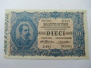 Italy Banknote 10  Lira Note 1888-1925