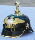 Imperial Officer's Prussian German Leather Pickelhaube Helmet With Brass Spike