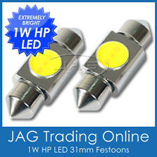 2 x 31mm 1W HP SMD LED FESTOON GLOBES WHITE - Car/Truck/Caravan Interior Lights