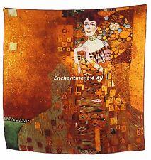 "Large 100% Pure Silk Art Scarf Handrolled Klimt ""Portrait of Adele Bloc-Bauer I"""