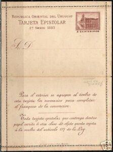 Uruguay 1883 unused 3c imprinted Tarjeta Epistolar F/VF