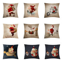 "18"" Christmas Pillow Case Santa Cotton Linen Sofa Throw Cushion Cover Home Decor"