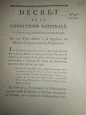 810 DÉCRET CONVENTION NATIONALE 1793 PAYEMENT TRAVAUX DES FORTIFICATIONS
