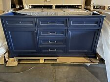"72"" York White Double Sink Bathroom Vanity Cabinet Blue"