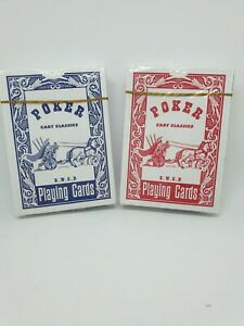 Cart Classics  Playing Cards - Poker - Casino - New Sealed- Red Blue
