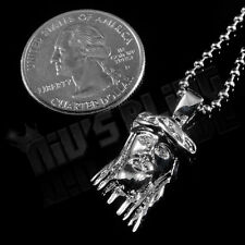 18K White Gold Plated JESUS PIECE Pendant Silver Simulated Diamond Necklace