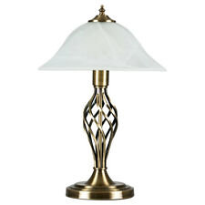 Traditional Antique Brass Barley Twist Table Lamp Frosted Alabaster Glass Shade