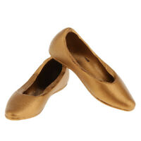 """1/6 Gold Flat Pumps Ballet Ballerina Dolly Shoes for 12"""" Female Figure Toys"""