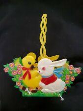 Vintage Plastic Easter Basket Hong Kong Bunny Rabbit Chick