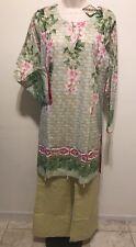 "Pakistani ""HARMONY""Branded 2 Piece Suit Top & Bell Pants W/lace Sz-M Party"