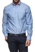 Tommy Hilfiger Men's 100% Cotton Solid Dress Shirt Slim Fit 24F0209400 Blue