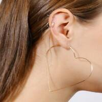 Fashion Simple Large Star Heart Shaped Hoop Earrings Jewelry for Women Girl Beam