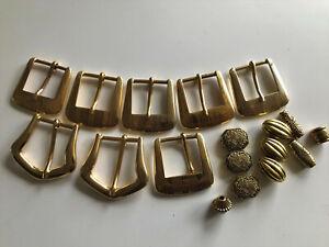 8 Gürtel Schnallen , Gold Metall massiv,  6 Zipper Enden