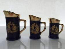 NEW LIMOGES FRANCE  MINIATURES 3 COLLECTIBLE  WATER PITCHERS  COBALT BLUE & GOLD