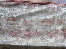 Vintage Chinese Silk Brocade Fabric Yardage 14 Feet Pagodas