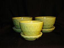 LOT (3) Vintage SHAWNEE Green yellow Lattice Flower  Pot Planter USA
