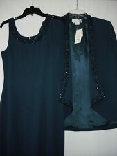 Ashlee Lauren 2 Piece Dark Teal Beaded Dress Blazer Evening Prom Size 8