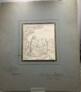 Johann Samuel Lymann - Adoration, dessin à l'encre du XVIIIe