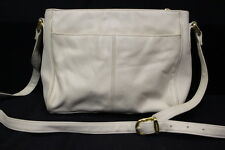 ETIENNE AIGNER Ivory Leather Shoulder Bag W/Adjustable Strap & Gold Tone Decor