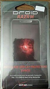 3-Pack  Verizon  Anti-Glare  Display  Protector  fits  Droid Razr M   New in Pkg
