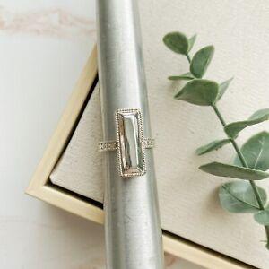Anna Beck Silver Stud Bar Ring Sz 8.5