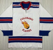 VTG COLORADO FLAMES CHL Hockey Jersey 1980s Minor League CCM Mens Small STAINS