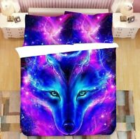 3D Watercolor Wolf Doona Duvet Cover Queen Starry Sky Bedding Set PillowCase