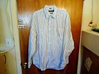 Mens Nautica Size L White / Blue Pin Stripe Long Sleeve Button Down Dress Shirt