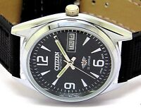 citizen automatic mens 21 jewels  steel black dial day date vintage japan watch