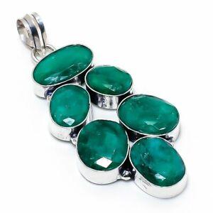 "Skota Emerald Gemstone Handmade 925 Sterling Silver Jewelry Pendant 2.76"" c674"