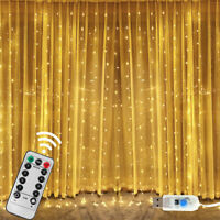 300 LED Curtain Fairy Hanging String Lights Waterproof Wedding Party Home Decor