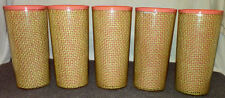 5 Vintage RaffiaWare Straw Weave Burlap Pink Insulated Plastic Drinking Tumblers