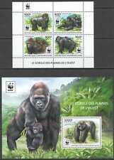 NW0571 SALE CENTRAL AFRICA WWF GORILLAS MONKEYS ANIMALS #5460-5463+BL1309 MNH