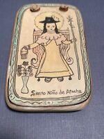 Holy Child Of Atocha  Retablo Religious Hand Panted  Wall Art Wood New Mexico