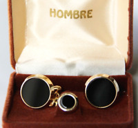Men's Onyx Cuff Links & Tie Tack Velveteen Hombre Case