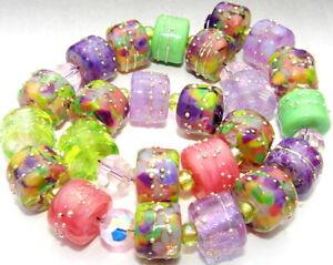 "Sistersbeads ""L-Iris Bloom"" Handmade Lampwork Beads"