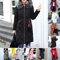 Lady Women Fur Coat Womens Winter Warm Thick Long Jacket Outdoor Hooded Parka
