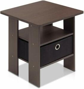 Furinno Living Room End Side Table with Drawer - Dark Brown