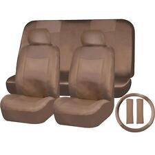 9PC SOLID dark beige / tan PU SYNTHETIC LEATHER SEAT COVERS SET for SUVS 1657