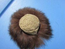 Vintage Barbie Doll Gold 'n Glamour Hat #1647 VHTF Pretty Fur Tweed Original