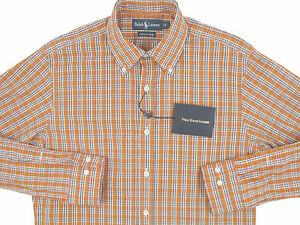 NEW $265 Polo Ralph Lauren Shirt! Orange Plaid  *Pearl Buttons*  *MADE IN ITALY*