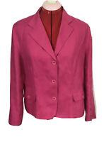 Talbot Irish Linen Women's Jacket Blazer 14 Petite 100% Linen Career Pink