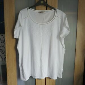 M&S Collection White Cotton T/shirt top size 20