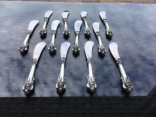 12 SET WALLACE GRANDE BAROQUE STERLING BUTTER KNIFE KNIVES KNIVE SILVER GRAND