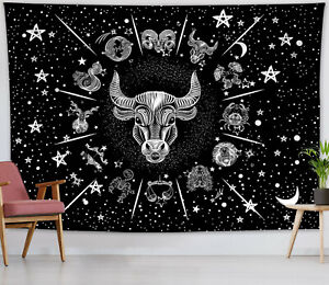 Astrology Constellation Tapestry Taurus Wall Hanging Home Decor Bedspread Cover