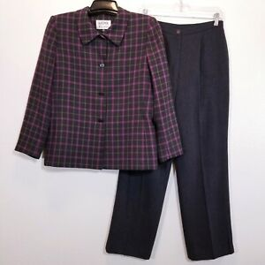 KASPER Womens Lined Gray Pant Suit Size 10P (28 Inseam) Career Blazer & Pants